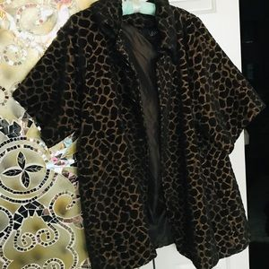Faux Fur Animal Print Car Coat Sz  XL